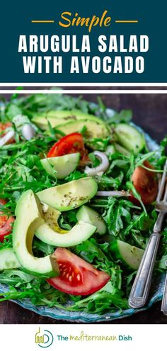 Simple and bright Arugula Salad with avocado, tomatoes, cucumbers, and shallots. A bright lemony vinaigrette with garlic and oregano brings it together. Take this to your next family gathering or cookout for a salad that is easy and everyone will love it! #summersalad #barbecuesides #sidedish Perfect Salad Recipe, Great Salad Recipes, Vegetarian Recipes Easy, Good Healthy Recipes, Clean Eating Recipes, Easy Recipes, Mediterranean Salad Recipe, Easy Mediterranean Recipes, Mediterranean Dishes