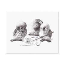 4 Owls, 1 called Pablo print Canvas Print