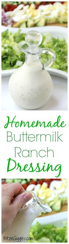 Homemade Buttermilk Ranch Dressing - A wonderful combination of herbs and spices brings this delicious buttermilk ranch dressing to life! Once you try this homemade ranch, you'll never go back to bottled!