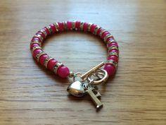 Pink prom bracelet - made with gemstones