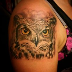 Owl tattoo, realistic, Vicstattoos, horned owl, black and grey owl, owl,