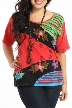 Rising - Love Top in Red Multicolored Patch