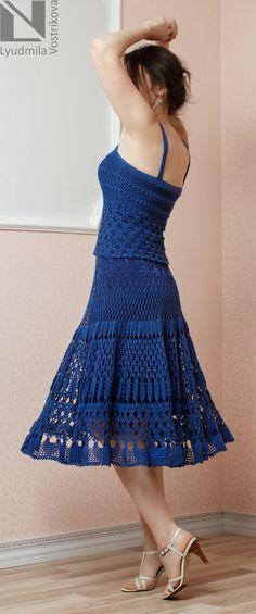 блог о вязании крючком и спицами  людмилы востриковой, платья крючком