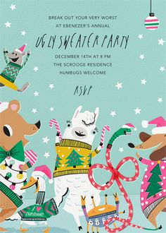 Sweater Party Animals - online Christmas invitation at Paperless Post Party Animals, Animal Party, Paperless Post, Christmas Party Invitations, Digital Invitations, Tool Design, Sweater, Jumper, Sweaters