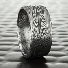Mokume Gane Titanium and Zirconium Wedding Band with Unique Woodgrain Design Ring at Mokume.com.