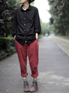 Just Style, Her Style, Linen Skirt, Red Pants, Dressing, Winter Outfits, Long Sleeve Shirts, Autumn Fashion, Street Style