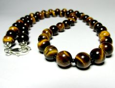Tiger Eye Necklace Mens Beaded Necklace Silver by LampJewellery