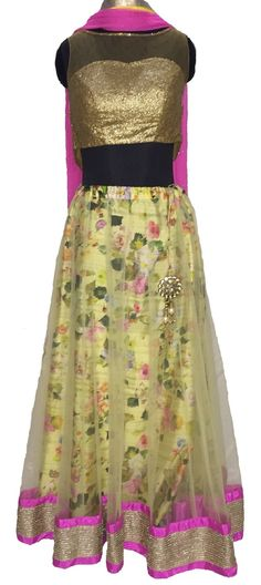 anokherang's Yellow Floral Lehenga with Light Gold Border and a hint of Pink teamed up with Sequenced & Crystal Top along with matching Neon Pink Dupatta !