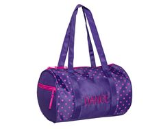 """Light pink or black polka dots against a vibrant bright pink or black background help this little duffel stand out in a crowd! It is accented with """"Dance"""" embroidered in white thread on the front open pocket. Dark Purple Background, Dance Tights, All Things Purple, Pink Polka Dots, Duffel Bag, Dance Wear, Bright Pink, Black Backgrounds, Gym Bag"""