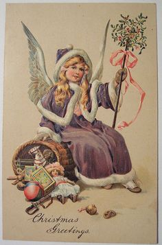 Angel girl in purple robe and cape with mistletoe vintage Christmas postcard. Vintage Christmas Images, Victorian Christmas, Vintage Holiday, Christmas Pictures, Vintage Images, Vintage Pictures, Purple Christmas, Old Fashioned Christmas, Christmas Past