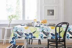 Kesäniitty Tablecloth   Pentik Summer 2018   Blue Kesäniitty (Summer Meadow) tablecloth blooms like those gorgeous plants in your garden! Designer Lasse Kovanen has perpetuated meadow flowers and butterflies in his Kesäniitty pattern. The size of this tablecloth is 145x250 cm. Made of 100 % cotton, it can be machine washed at 60 degrees with a gentle program.