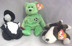 Ty Beanie Babies Lot of 3 Stinky Skunk Kicks Bear Bruno Dog #Ty