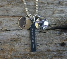 Baseball mom necklace in silver by KMOriginal on Etsy Baseball Boys, Baseball Gifts, Baseball Jerseys, Baseball Stuff, Softball, Baseball Jewelry, Baseball Necklace, Dog Tag Necklace, Thing 1