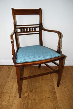 Edwardian Inlaid Elbow Chair by Ralph Johnson (Warrington) in Clarke & Clarke fabric - Sold by The Sitting Place Clarke And Clarke Fabric, Accent Chairs, Dining Chairs, Places, Furniture, Home Decor, Upholstered Chairs, Decoration Home, Room Decor