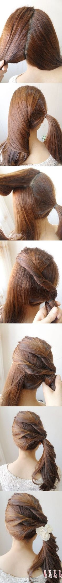 Twisted back-band ponytail - simple, twisted, back-band, in to side ponytail