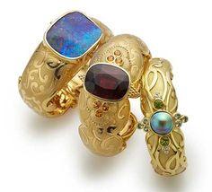 Paula Crevoshay award winning  boulder opal cuff bracelet and colorful choices