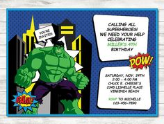 Hulk Birthday Invitation Hulk Printable by BebiPartyPrints on Etsy