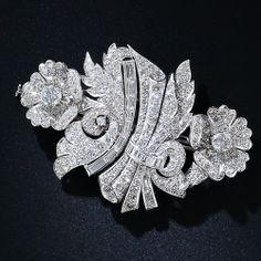 Art Deco Platinum and Diamond Floral Clips and Brooch - 1930s-1940s