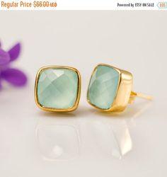 LABOR DAY SALE - Aqua Blue Chalcedony Stud Earrings - Gemstone Studs - Cushion Cut Studs - Gold Stud Earrings - Post Earrings by delezhen on Etsy https://www.etsy.com/listing/102985518/labor-day-sale-aqua-blue-chalcedony-stud
