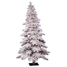 Vickerman Co. Flocked Spruce Alpine 60'' Artificial Christmas Tree with Clear Lights