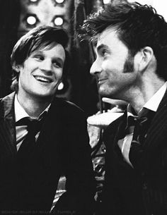 Matt Smith David Tennant. I just suffered from a fangirl heart attack. So much cuteness.<---,yes yes yes.