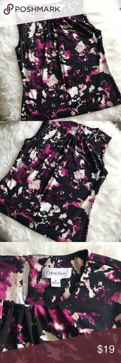 """Calvin Klein Purple Black Sleeveless Blouse Medium Like new and in perfect condition Calvin Klein blouse - size medium. Very stretchy fabric.   Approximate measurements:  Width 19"""" Length 22""""  Dry clean recommended.   ✅All items in my closet are either NEW or in excellent condition - any signs of wear are minimal and will be detailed on pictures and description. ✅ Very clean and smoke free home.  ✅Make me an offer and shop bulk to save! Calvin Klein Tops Blouses"""