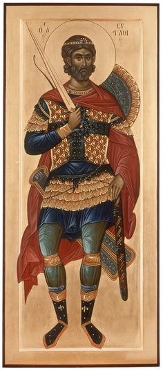 Eustathius (Eustace) Placidas the Great Martyr with his wife and children - Commemorated on September 20 (icon taken from: http:& Byzantine Icons, Byzantine Art, Religious Paintings, Religious Art, Religious Icons, Roman Church, Best Icons, Catholic Saints, Orthodox Icons