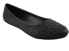 Pierre Dumas Womens Black Rhinestone & Glitter Design Ballet Flat Dress Shoes