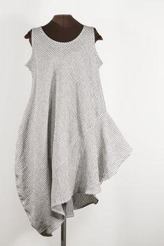 STRIPES black + white linen dress with side swoop – secret lentil