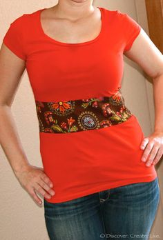 Lengthening a short shirt.  She used a fat quarter with the jersey material.
