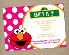 Custom Printable Pink & Orange Polka Dot ELMO Birthday Party Invitation for Girls