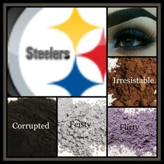 Pittsburgh Steelers look created using Moodstruck Mineral Pigments in Corrupted, Feisty, Flirty, and Irresistible.  Complete this look using 3D Fiber Mascara and a Precision Eye Liner.   #NFL #football #Pittsburgh #Steelers #color #team #spirit #fun #colors #beauty #makeup #eyes #mineral #pigments #lashes #mascara #younique