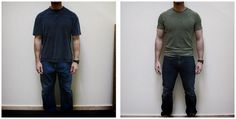 The (noticeable) difference in sizing when a man is more muscular. Try smaller than you think - different manufacturers have different sizes.