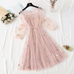 Sexy Party Women Dress Cute Blush Pink Tulle See Through Homecoming Dress For Girls Cute Casual Outfits, Pretty Outfits, Pretty Dresses, Beautiful Dresses, Casual Dresses, Short Dresses, Dresses Dresses, Dress Outfits, Fashion Dresses