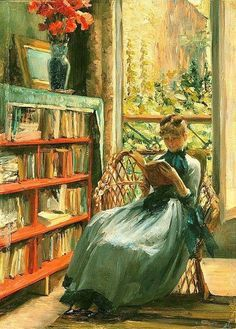 Louise Catherine Breslau (Alemania, 1856 - Francia,1927) - Leyendo, c. 1889. Óleo sobre tabla.