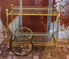 Antique Tall Brass Coat Hat Rack Hall Tree Stand Hollywood ...