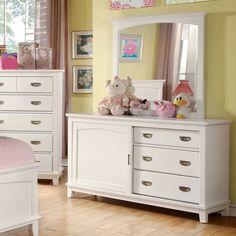 Furniture of America Alana Marie Inspired Sliding Door 3 Drawer Dresser - White - ENLB1426