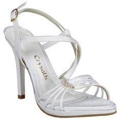 Sandália Crysalis Branca com Strass #Noivas #Casamento #Sapatos #Love #Shoes #Trends #Style #Fashion