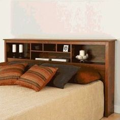 This King-size Storage Headboard in Cherry Wood Finish has 6 compartments, providing ample space for bedside reading materials, clocks, photographs and decorative accessories. Headboard With Shelves, Bookcase Headboard King, Headboard Storage, Bedroom Design, Bookcase Design, Bookcase Headboard, Headboard Styles, Furniture, Bedroom Sets