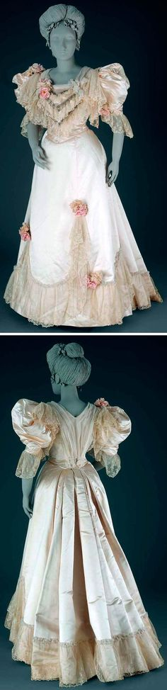 Dress, Pingat, ca. 1894. Ivory satin, two pieces. Fitted bodice, pointed front & back with machine lace flounce. Medium round neckline edged with pleated silk chiffon and covered with 3 satin chevrons. Artificial pink roses on sleeves & left shoulder. Closes in front with hooks & eyes. Skirt flat in front, gathered behind; trimmed around bottom with deep machine lace flounce. Museum of Fine Arts, Boston