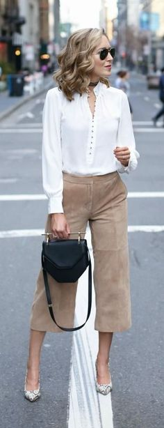 camel suede culottes, white victorian blouse, snakeskin pointed toe pumps, black handbag, wrap choker necklace, aviator sunglasses + curled hairstyle {white house black market, m2malletier, fallon, ray-ban}