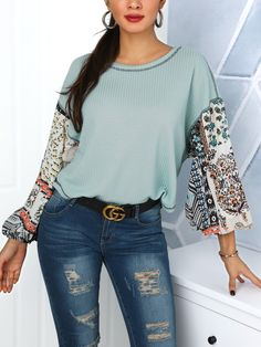 Ethnic Print Lantern Sleeve T-Shirt Online. Discover hottest trend fashion  at chicme. f56727dc7