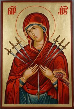 High quality hand-painted Orthodox icon of Softener of Evil Hearts. BlessedMart offers Religious icons in old Byzantine, Greek, Russian and Catholic style. Religious Images, Religious Icons, Religious Art, Byzantine Art, Byzantine Icons, Icon Tattoo, Greek Icons, Paint Icon, Our Lady Of Sorrows