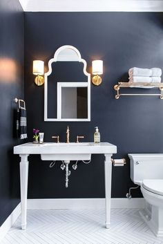 More ideas below: BathroomRemodel Small Bathroom Remodel On A Budget DIY Bathroom Remodel Ideas With Tub Half Paint Bathroom Shower Remodel Master Tile Farmhouse Bathroom Remodel Rustic Bathroom Remodel Before And After Navy Bathroom Decor, Blue Bathroom Walls, Dark Blue Bathrooms, Bathroom Trends, Bathrooms Remodel, Painting Bathroom, Diy Bathroom Remodel, White Bathroom Decor, Blue Bathroom Decor
