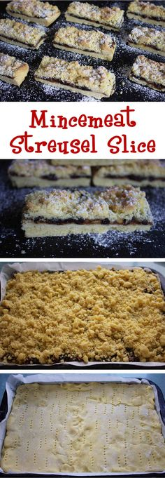 Mincemeat Streusel Slice - Christmas Mince Pies without the fuss! No rolling out & no fancy stars to cut out. A delicious buttery shortbread traybake with a mincemeat filling & a crumbly almond streusel topping.