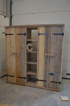 Grote kledingkast 'Eindeloos' naturel | steigerhout | stoere klerenkast