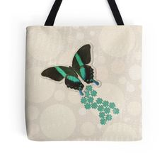 Soaring Green #Butterfly and Flowers tote bag by #DragonfireGraphics