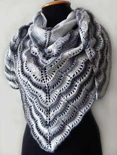 READY TO SHIP Knitted black-and-white shawl, knitted lace cotton wrap, knitted lace grey shawl, summer cotton shawl, boho style shawl by SanniKnitting on Etsy