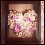 Dry flowers by hanging them upside, once dried, spray with hairspray. Or dry flowers by using silica gel. After get a shadow box and decorate how you please! I used leftover cork I had from a roll and arranged the roses in a heart shape! Great way to save flowers from special occasions!