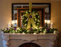 What a pretty Christmas mantle with a unique color combo - purple (my fav) and lime green by In My Own Style